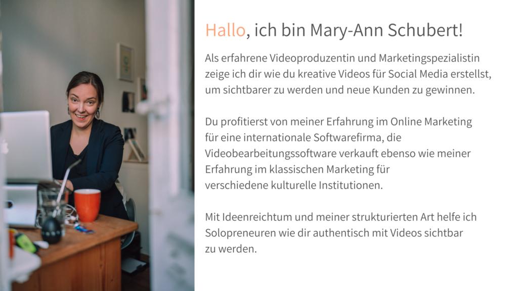 Grafik Frau am AmcBook. Text rechts daneben.