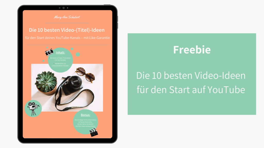 Grafik mit links iPad mit freebie und rechts Schrift auf gruenem Untergrund